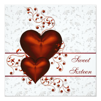 Red Heart Damask White Sweet Sixteen 13 Cm X 13 Cm Square Invitation Card