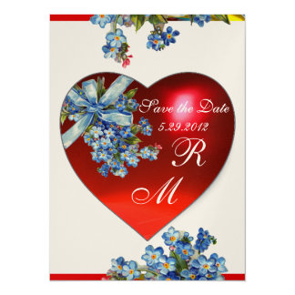 RED HEART & FORGET ME NOTS MONOGRAM blue gold 14 Cm X 19 Cm Invitation Card