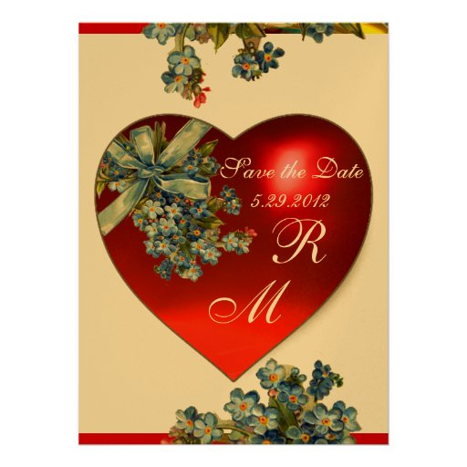 RED HEART & FORGET ME NOTS MONOGRAM blue gold Personalized Invite