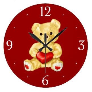 Red Heart Hypnotizing Cute Teddy Bear Wall Clock