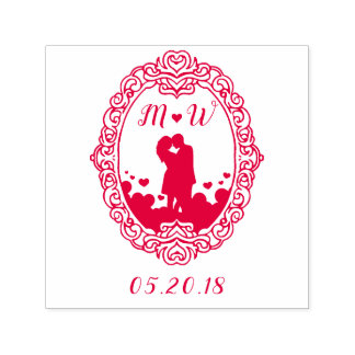 Red Heart & Initials Couple Silhouette Wedding Self-inking Stamp
