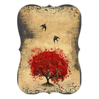 Red Heart Leaf Tree Vintage Birds Wedding Announcement