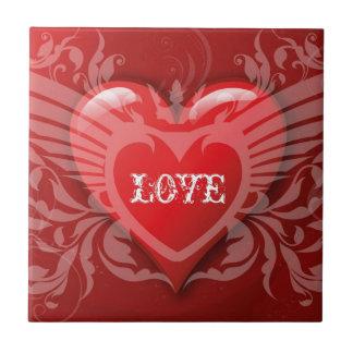 Red heart love artistic illustration tiles