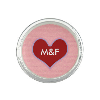 red heart love initials ring