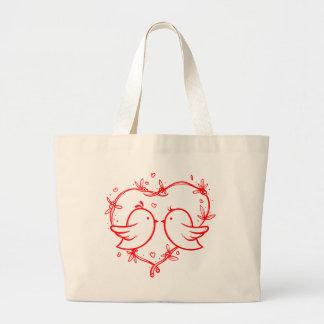 Red Heart Lovebirds - Wedding, Bridal Shower Large Tote Bag