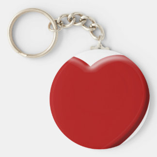 Red heart of love Valentine Basic Round Button Key Ring