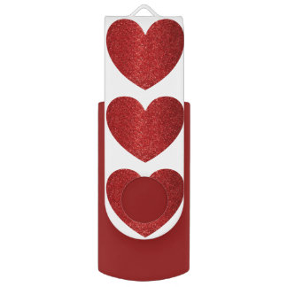 Red Heart pattern on White USB Flash Drive