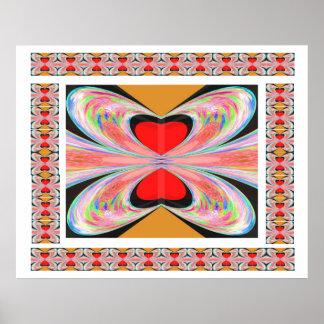 Red Heart Pearl Butterflies Print