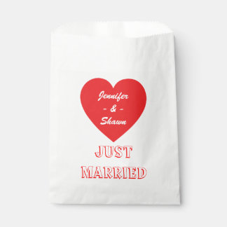 Red Heart Personalized Just Married Wedding Favour Bags