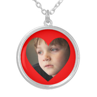 Red Heart Photo Silver Plated Necklace