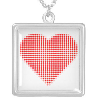Red heart polka dots square pendant necklace