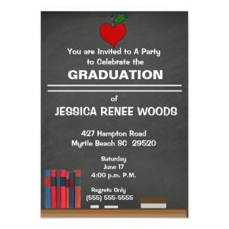 Red Heart Teacher Graduation Invitation
