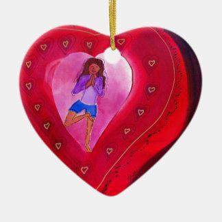Red Heart Yoga Posture Ceramic Heart Decoration