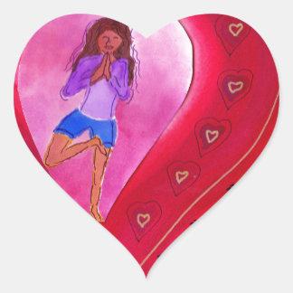 Red Heart Yoga Posture Heart Sticker