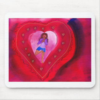 Red Heart Yoga Posture Mouse Pad