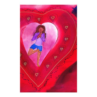 Red Heart Yoga Posture Personalized Stationery