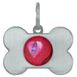 Red Heart Yoga Posture Pet ID Tag