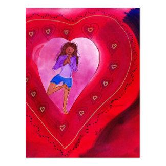 Red Heart Yoga Posture Postcard
