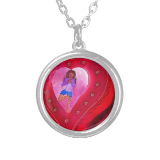 Red Heart Yoga Posture Round Pendant Necklace