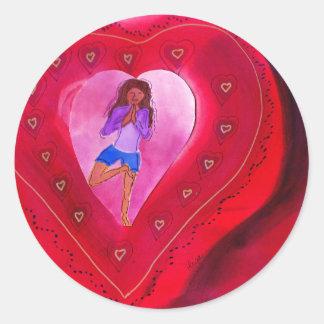 Red Heart Yoga Posture Round Sticker