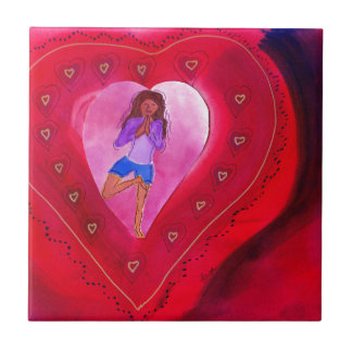 Red Heart Yoga Posture Small Square Tile