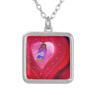Red Heart Yoga Posture Square Pendant Necklace
