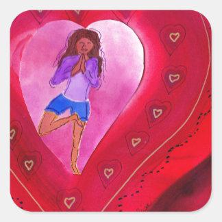 Red Heart Yoga Posture Square Sticker