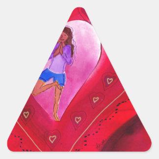 Red Heart Yoga Posture Triangle Sticker