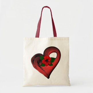 Red Hearts and Flowers Ladies Tote Budget Tote Bag