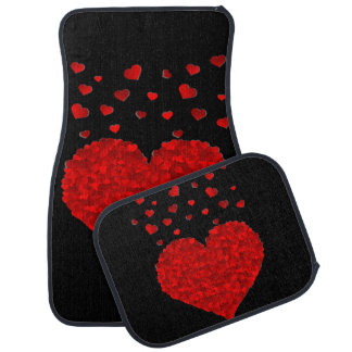 Red Hearts Design Set of 4 Car Mats Car Mat