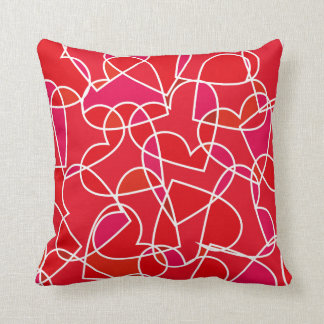 Red Hearts Pattern Throw Cushion