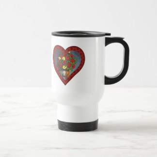 Red Hearts Red Yellow Flowers Traveling Mug