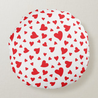 Red Hearts Round Cushion
