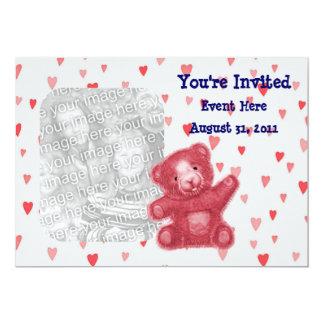 Red Hearts Teddy Bear Cute Photo Invitation