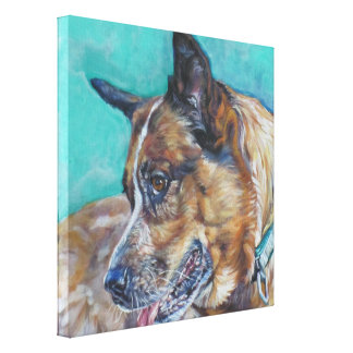 Red Heeler Fine Art Painting on Wrapped Canvas Stretched Canvas Print