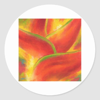 Red Heliconia Flower Art - Multi Classic Round Sticker