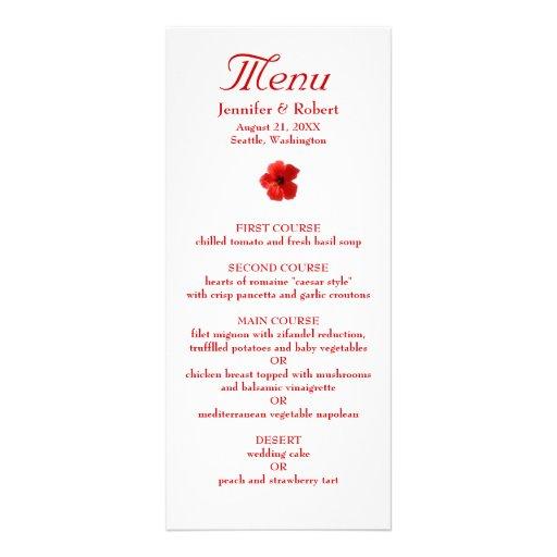 Red Hibiscus Dinner Menu Full Color Rack Card