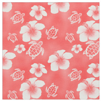 Red Hibiscus Honu Hawaiian Fabric
