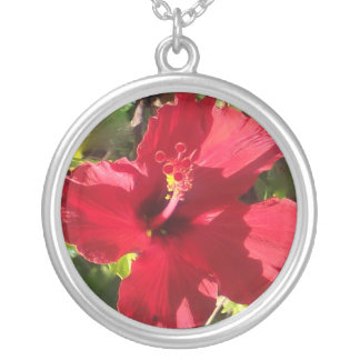 Red Hibiscus in Hawaii Silver Plated Necklace