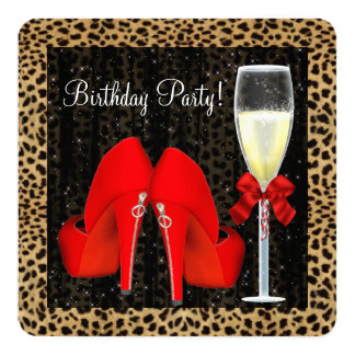 Red High Heel Shoes Birthday Party 13 Cm X 13 Cm Square Invitation Card