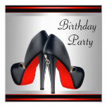 Red High Heel  Shoes Red Black Birthday Party Custom Announcements