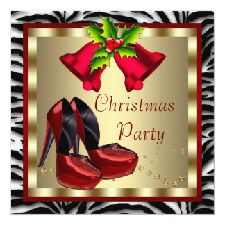 Red High Heel Shoes Red Zebra Christmas Party Card