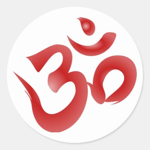 Red Hindu Symbol Om Aum Devanagari Calligraphy Round Sticker
