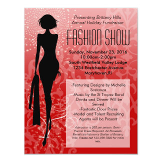 Red Holiday Silhouette Fashion Show Invitations