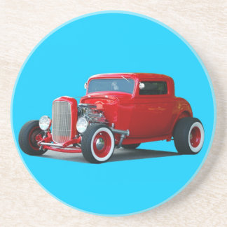 red hot rod car coaster
