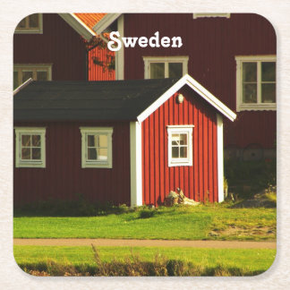 Red Houses in Sweden Square Paper Coaster