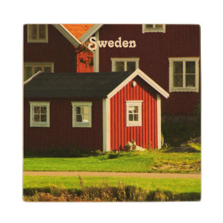 Red Houses in Sweden Wood Coaster