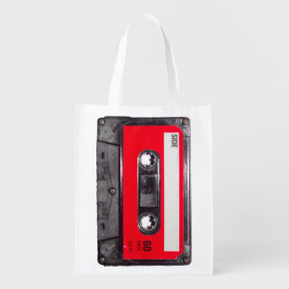 Red Label Cassette Reusable Grocery Bag