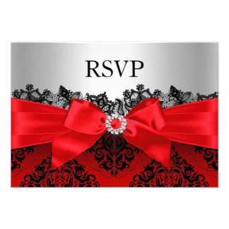 Red Lace Damask & Bow RSVP Invitation