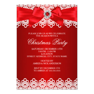 Red Lace Jewel Bow Christmas Party Invite
